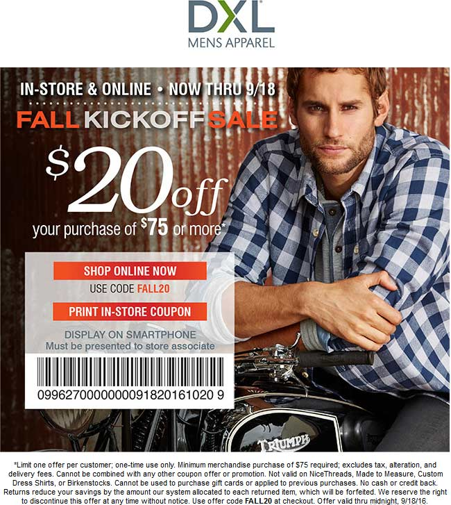 Destination XL Coupon April 2017 $20 off $75 at Destination XL, or online via promo code FALL20