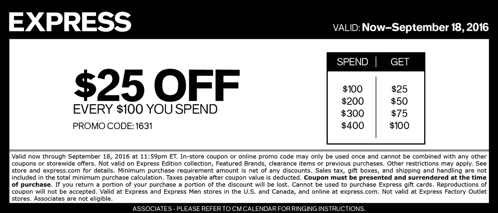 Express.com Promo Coupon $25 off every $100 at Express, or online via promo code 1631