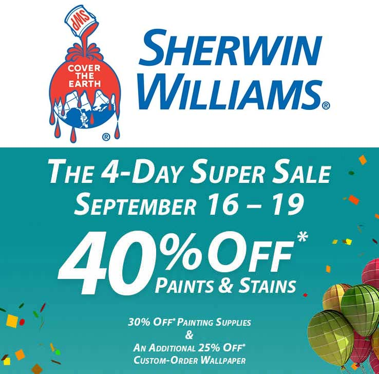 Sherwin Williams Coupon November 2017 40% off paint & stains at Sherwin Williams