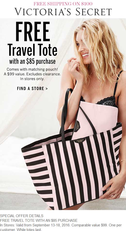 VictoriasSecret.com Promo Coupon $99 tote & pouch free with $85 spent at Victorias Secret