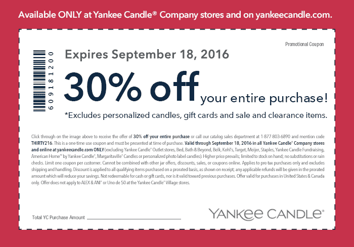 Yankee Candle Coupon September 2017 30% off everything at Yankee Candle, or online via promo code THIRTY216