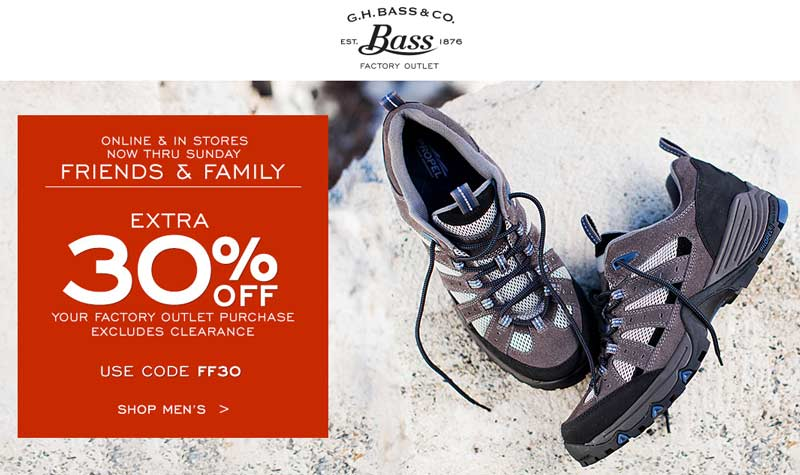 G.H. Bass Factory Outlet Coupon March 2017 Extra 30% off at G.H. Bass Factory Outlet, or online via promo code FF30