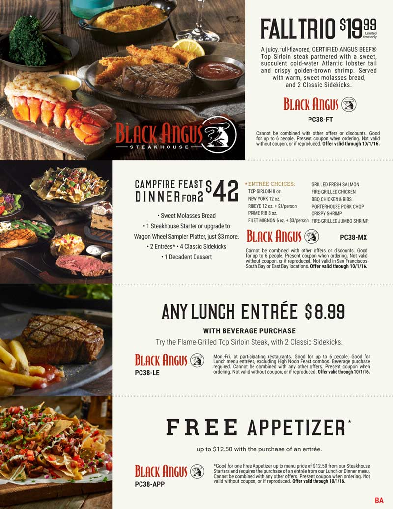 Black Angus Coupon December 2017 Any lunch entree $9 & more at Black Angus steakhouse