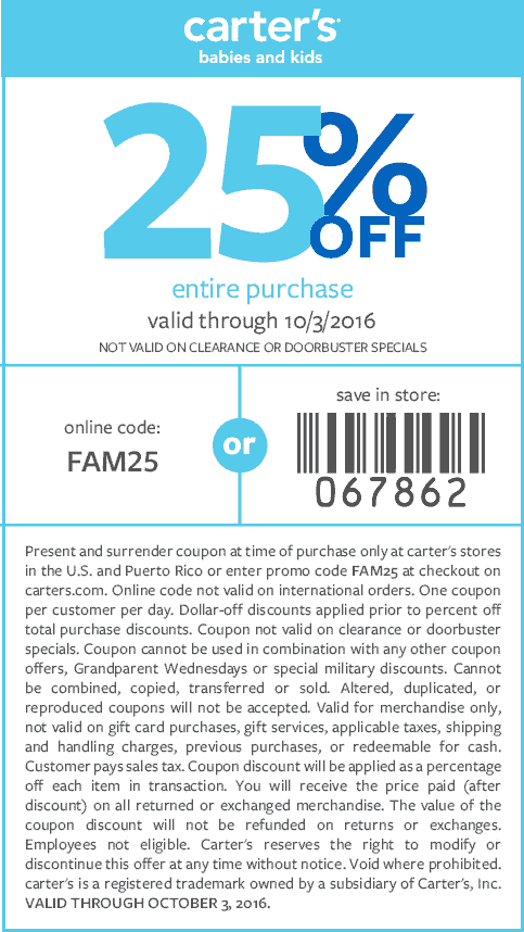 Carters.com Promo Coupon 25% off at Carters, or online via promo code FAM25