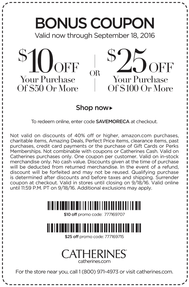 Catherines Coupon October 2016 $10 off $50 & more at Catherines, or online via promo code SAVEMORECA