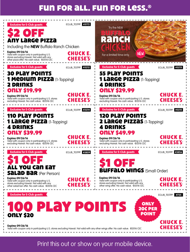 ChuckE.Cheese.com Promo Coupon 100 tokens for $20 & more at Chuck E. Cheese pizza