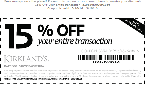 Kirklands Coupon May 2018 15% off at Kirklands