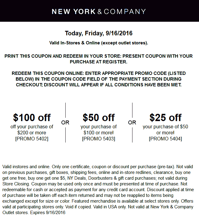 NewYork&Company.com Promo Coupon $25 off $50 & more at New York & Company, or online via promo code 5404