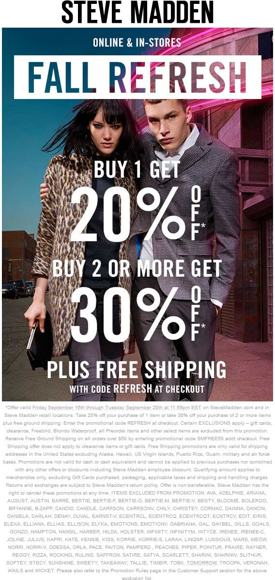 Steve Madden Coupon May 2018 20-30% off at Steve Madden, or online via promo code REFRESH