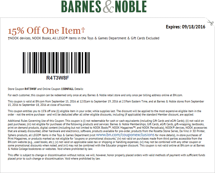 Barnes & Noble Coupon October 2016 15% off a single item at Barnes & Noble, or online via promo code 15BNFALL