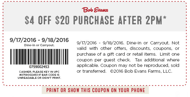 Bob Evans Coupon February 2018 $4 off $20 after 2pm at Bob Evans restaurants