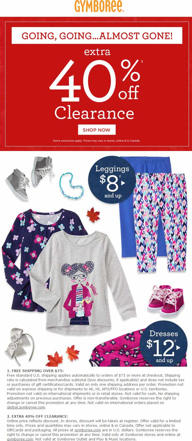 Gymboree.com Promo Coupon Extra 40% off clearance at Gymboree, ditto online