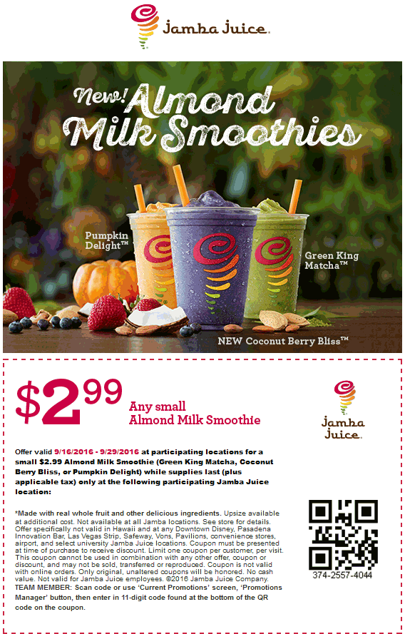 JambaJuice.com Promo Coupon $3 almond milk fruit smoothies at Jamba Juice