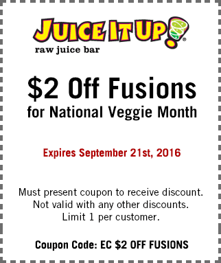 Juice It Up Coupon September 2017 $2 off fusions at Juice It Up raw juice bar