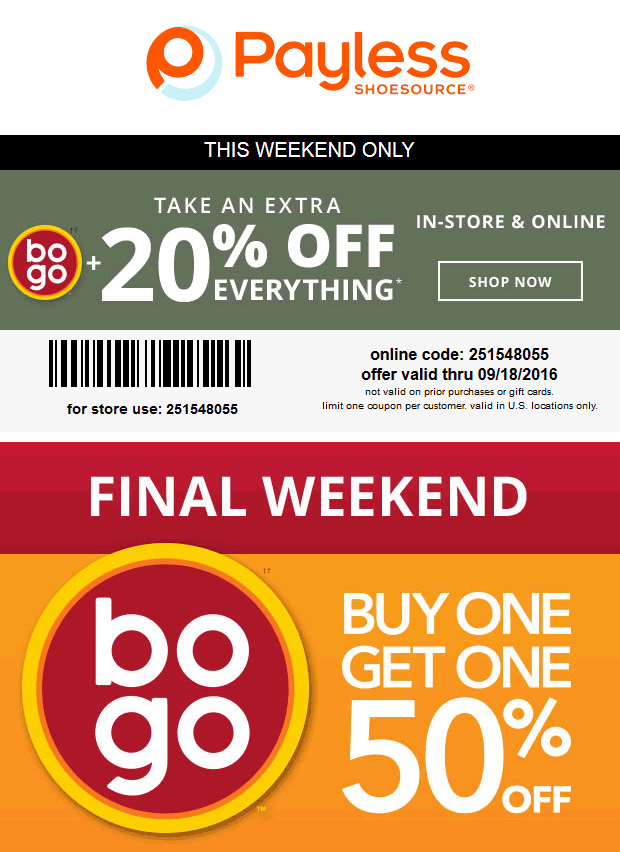 PaylessShoesource.com Promo Coupon Extra 20% off everything at Payless Shoesource, or online via promo code 251548055