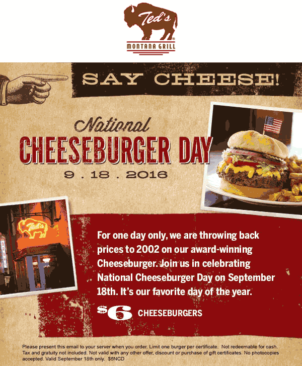 Teds Montana Grill Coupon October 2016 $6 cheeseburgers Sunday at Teds Montana Grill