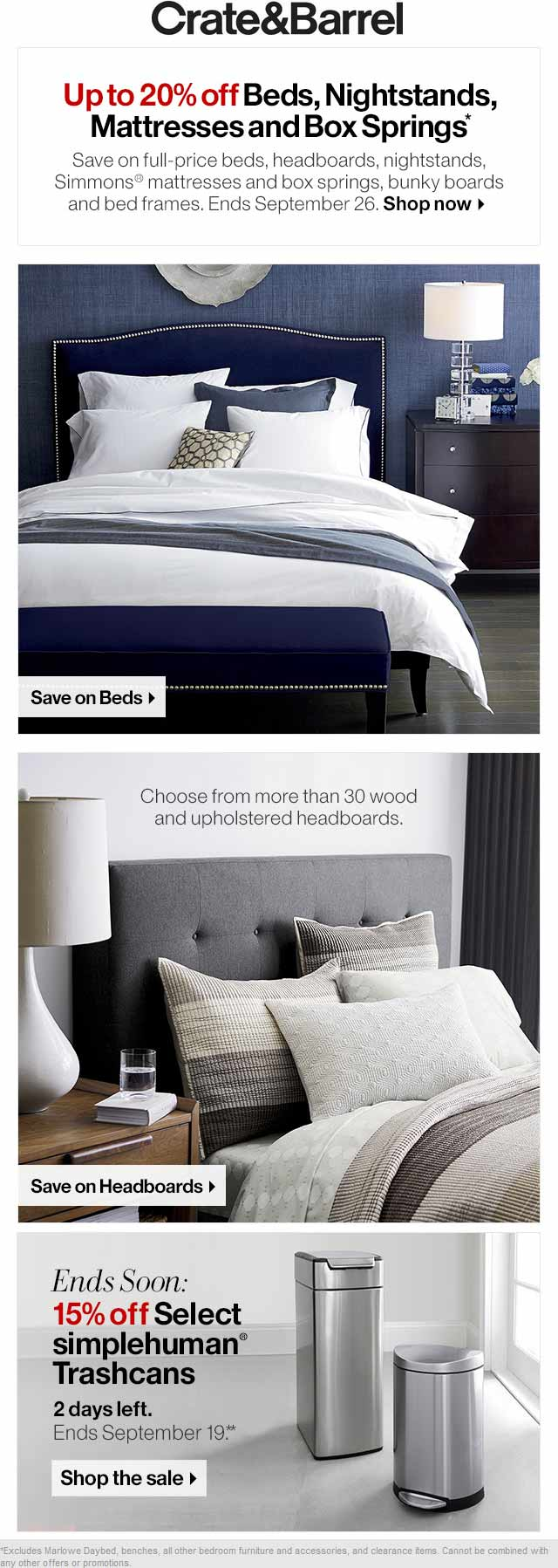 Crate & Barrel Coupon October 2016 20% off beds & mattresses at Crate & Barrel
