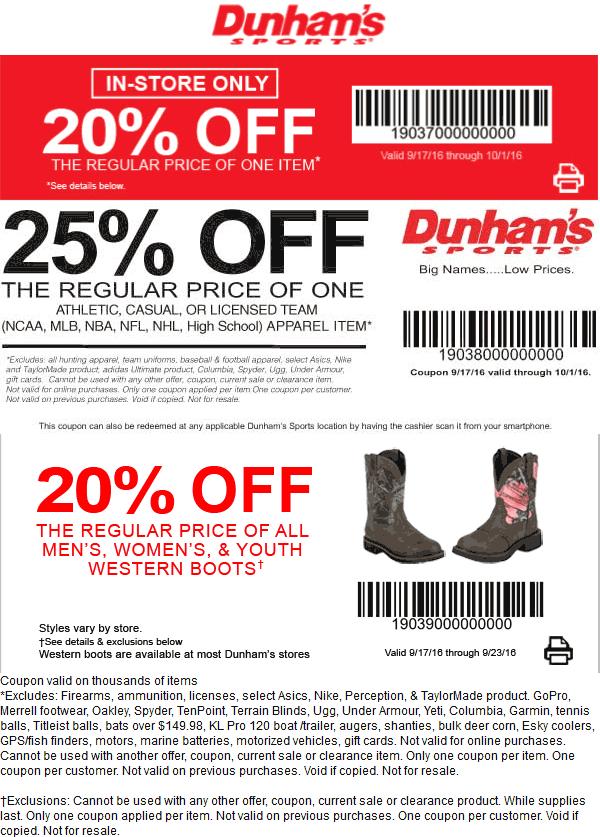 Dunhams Sports Coupon March 2018 20-25% off at Dunhams Sports