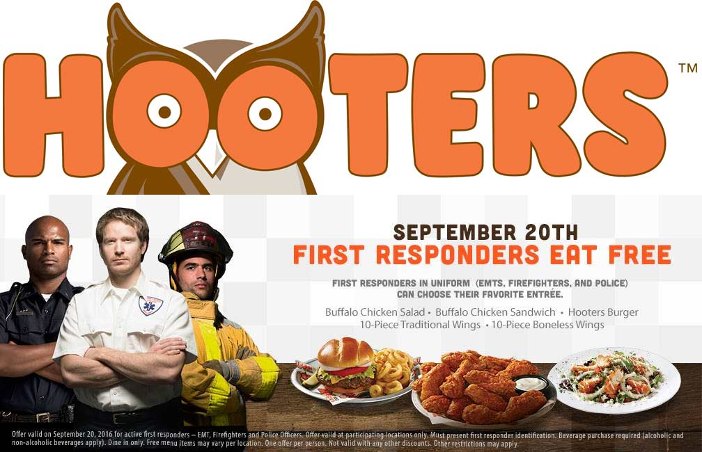 Hooters Coupon October 2017 First responders eat free Tuesday at Hooters
