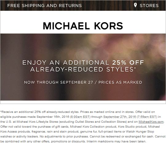 MichaelKors.com Promo Coupon Extra 25% off clearance at Michael Kors, ditto online