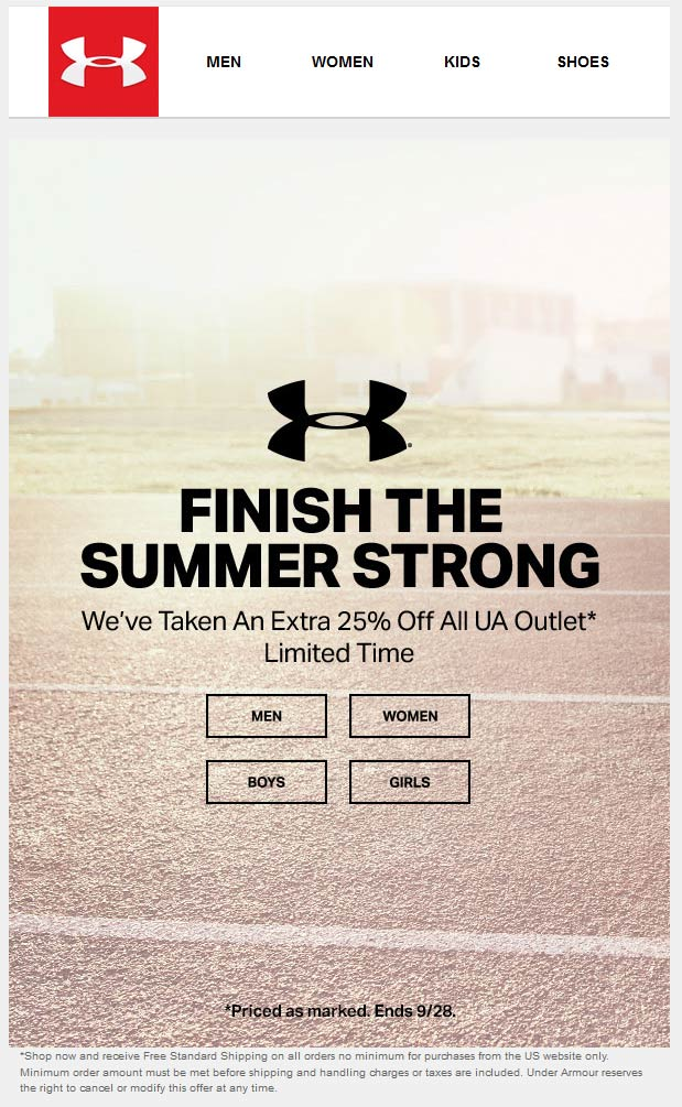 Under Armour Outlet Coupon August 2017 Extra 25% off online at Under Armour Outlet