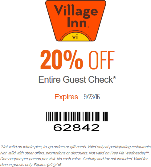 VillageInn.com Promo Coupon 20% off at Village Inn restaurants