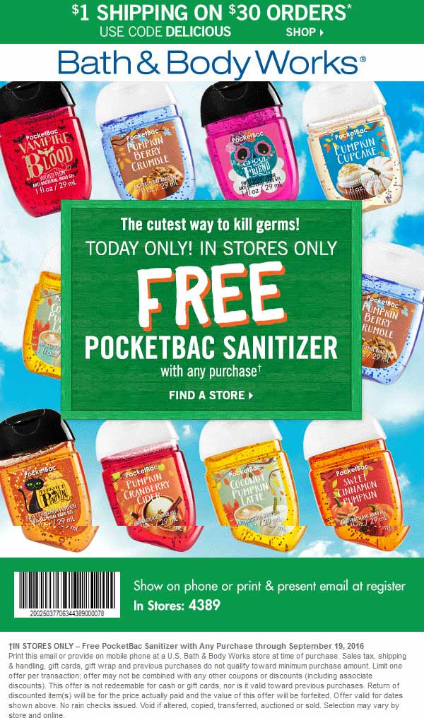 Bath & Body Works Coupon February 2017 Free hand sanitizer with any purchase today at Bath & Body Works