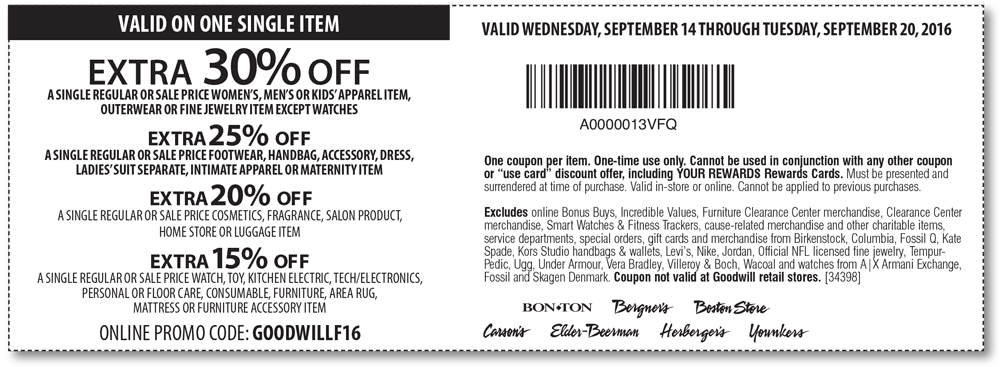 Carsons.com Promo Coupon Extra 30% off a single item at Carsons, Bon Ton & sister stores, or online via promo code GOODWILLF16