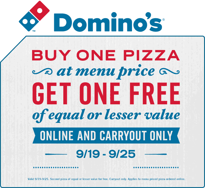 Dominos.com Promo Coupon Second pizza free at Dominos