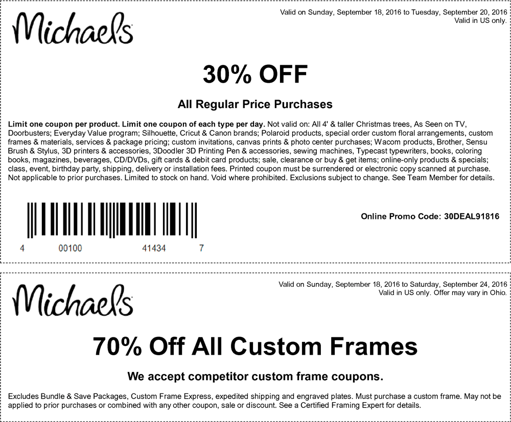 Michaels.com Promo Coupon 30% off at Michaels, or online via promo code 30DEAL91816