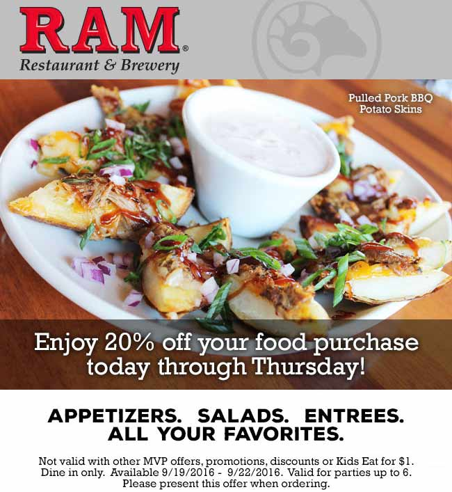 Ram.com Promo Coupon 20% off at Ram restaurant & brewery