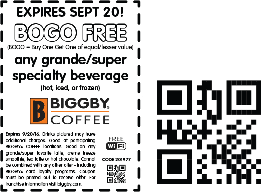 Biggby Coffee Coupon April 2017 Second beverage free today at Biggby Coffee