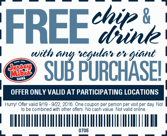 Jersey Mikes Coupon February 2017 Free chips & drink with your sub at Jersey Mikes