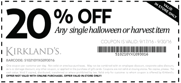 Kirklands.com Promo Coupon 20% off a single harvest or Halloween item at Kirklands