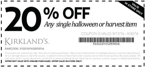 Kirklands Coupon September 2017 20% off a single harvest or Halloween item at Kirklands