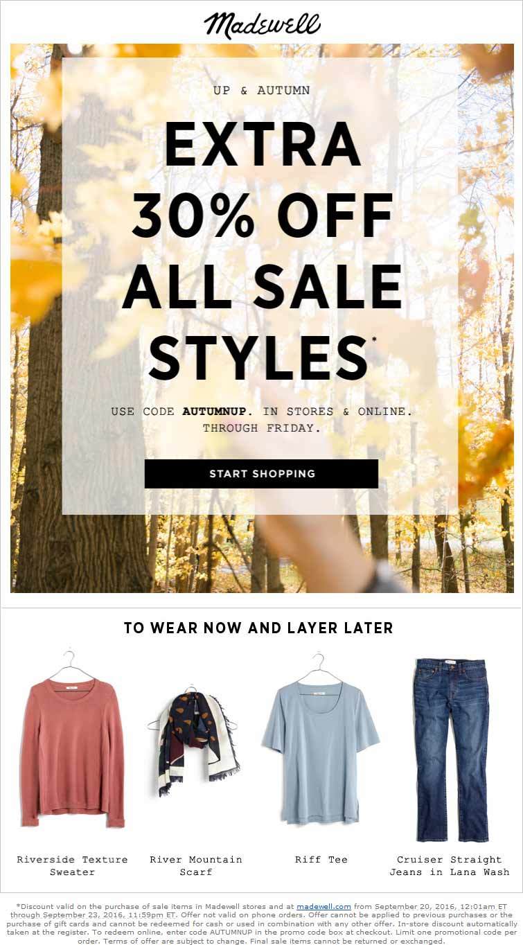 Madewell Coupon October 2017 30% off sale items at Madewell, or online via promo code AUTUMNUP