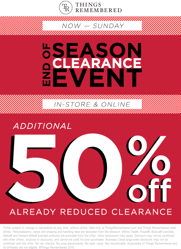 ThingsRemembered.com Promo Coupon Extra 50% off clearance at Things Remembered, ditto online