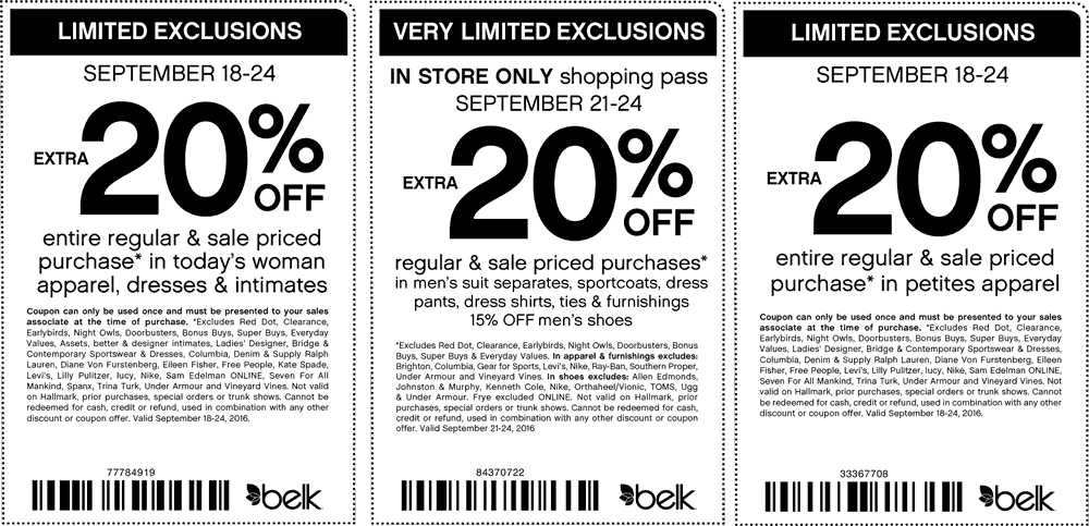 Belk.com Promo Coupon Extra 20% off apparel at Belk, or online via promo code 77784919