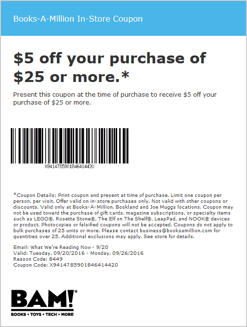 Books-A-Million Coupon October 2018 $5 off $25 at Books-A-Million