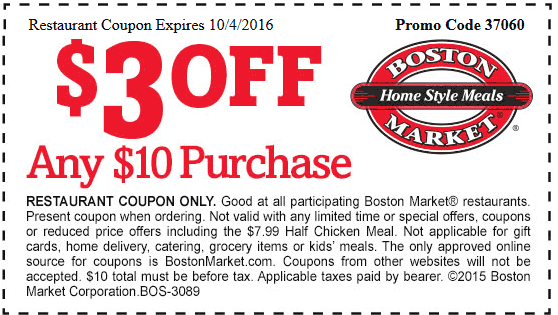 Boston Market Coupon December 2017 $3 off $10 at Boston Market restaurants