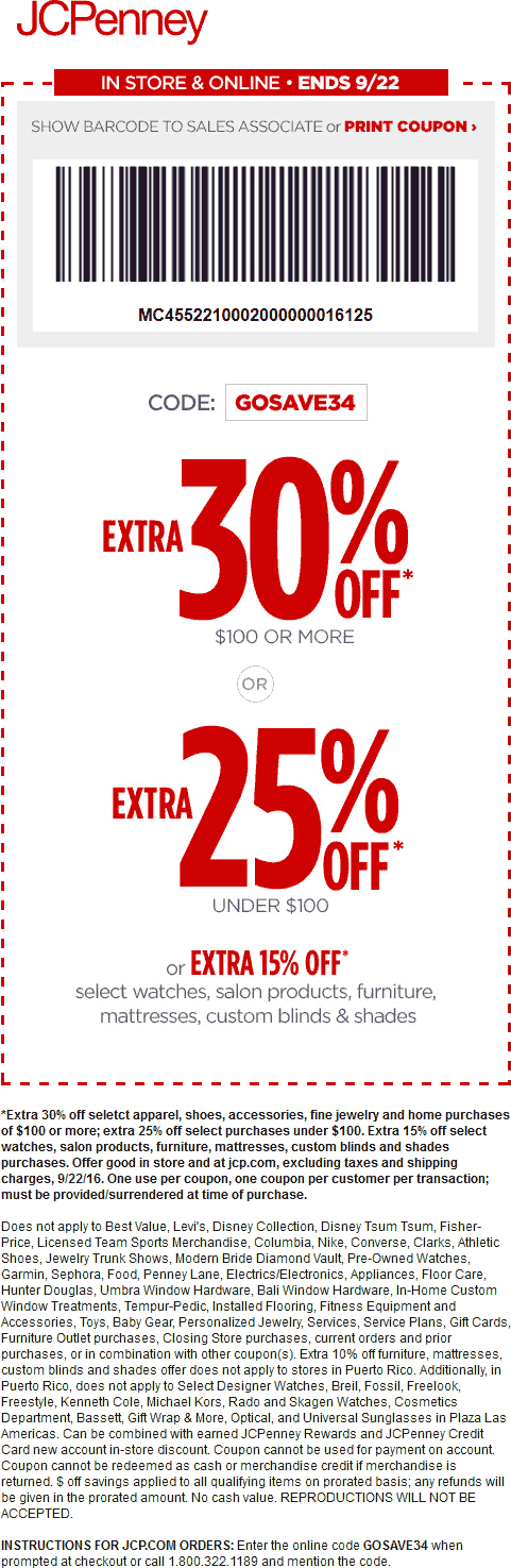 JCPenney Coupon January 2017 25-30% off at JCPenney, or online via promo code GOSAVE34
