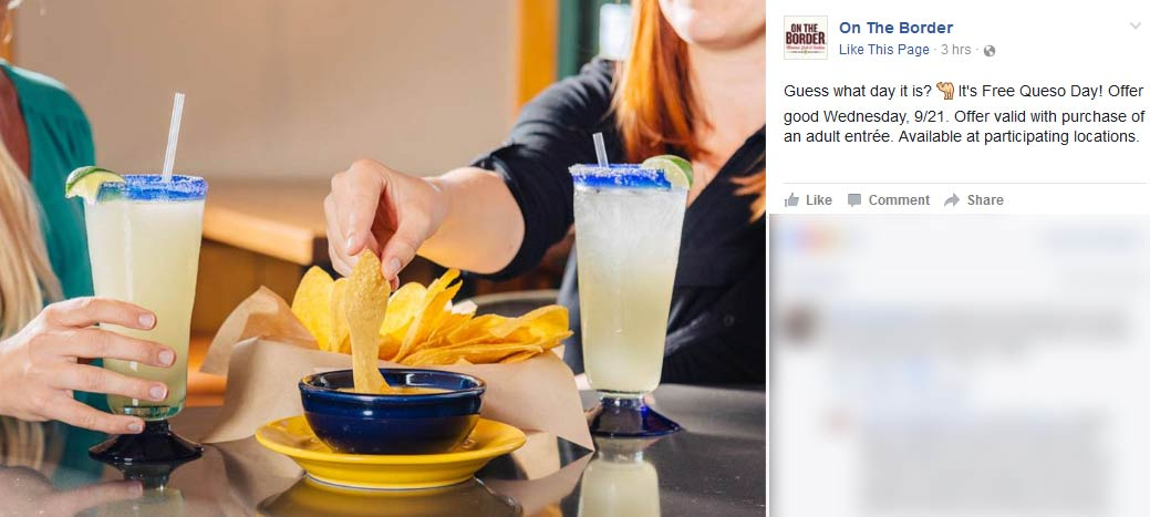 On The Border Coupon December 2017 Free queso with your entree today at On The Border
