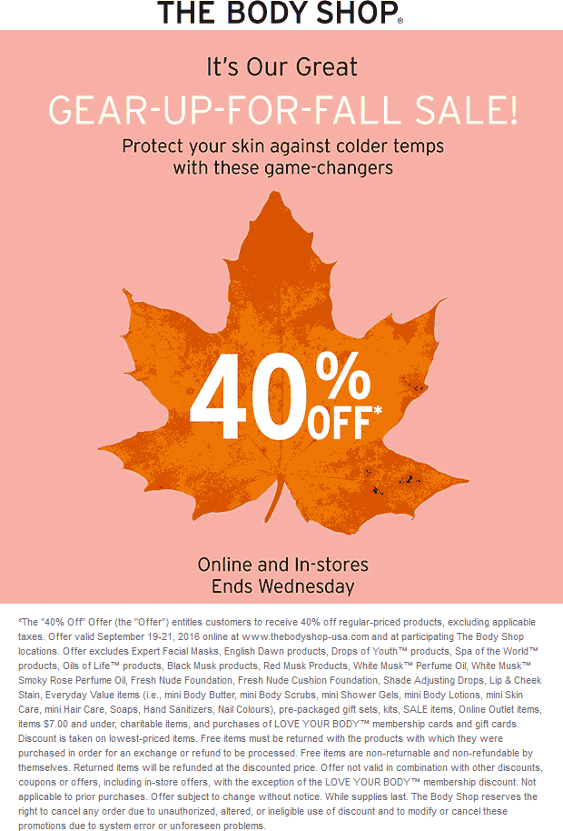 The Body Shop Coupon October 2016 40% off today at The Body Shop, ditto online