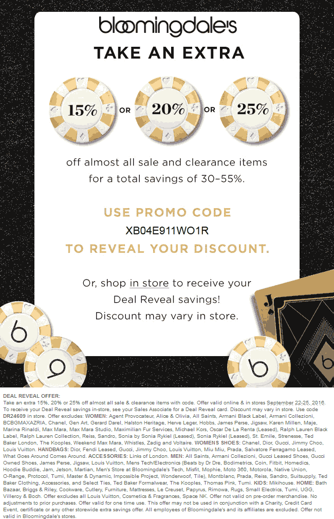 Bloomingdales Coupon March 2018 Extra 15-25% off sale & clearance items at Bloomingdales, or online via promo code XB04E911WO1R