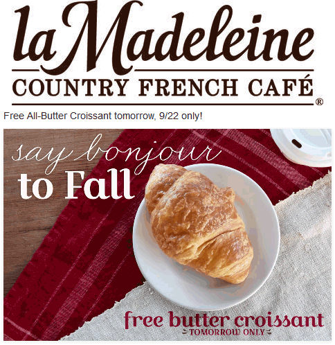 laMadeleine.com Promo Coupon Free butter croissant today at la Madeleine restaurants