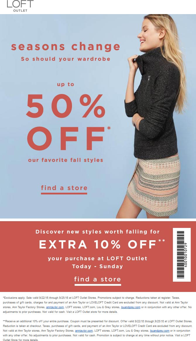 LOFTOutlet.com Promo Coupon Extra 10-50% off at LOFT Outlet
