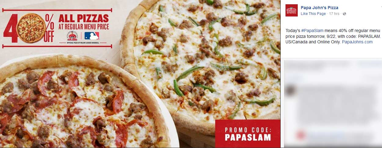 PapaJohns.com Promo Coupon 40% off pizzas today at Papa Johns via promo code PAPASLAM