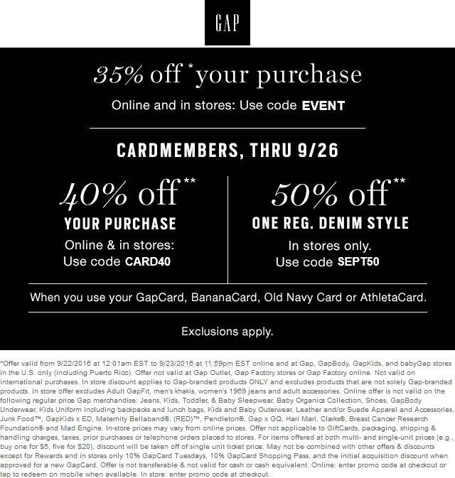 Gap.com Promo Coupon 35% off today at Gap, or online via promo code EVENT