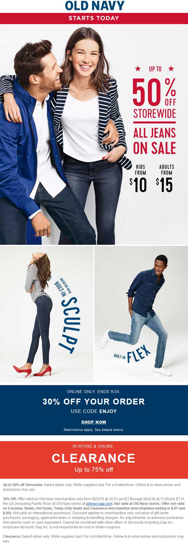 OldNavy.com Promo Coupon 30-50% off at Old Navy, or online via promo code ENJOY