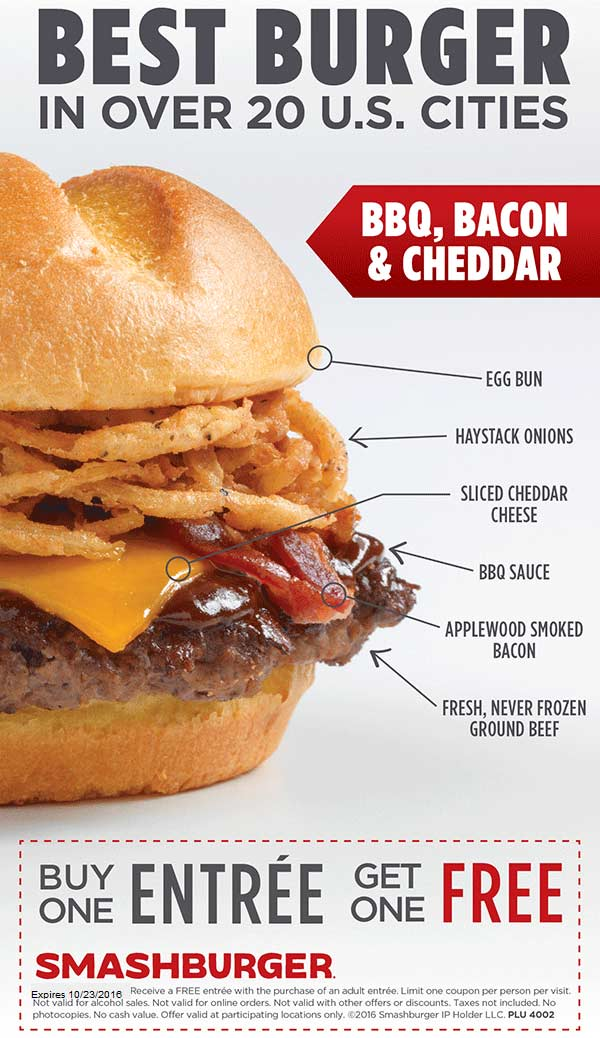 Smashburger Coupon September 2017 Second entree free at Smashburger